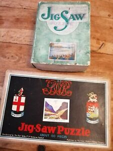 2x Vintage Chad Valley Wooden, Hand Cut Jigsaw The Boat Race & killarney antique