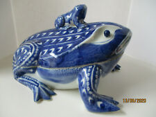 Large Collectible Blue & White Frog Covered Dish - Baby On Back