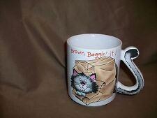 Cat Mug By Mount Clemens Pottery Brown Baggin It Vintage (Made In Japan)