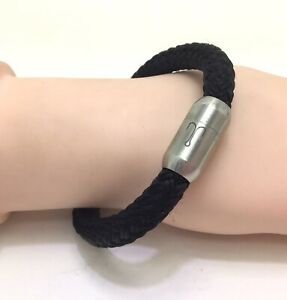 """Fischers Fritze Sail Rope Stainless Steel Black Bracelet 7""""/18cm RRP £30"""