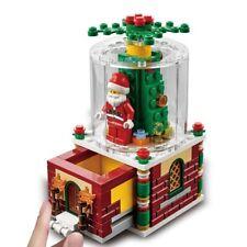 Christmas Gift Snow Santa Claus Village Train City Light Blocks Bricks Toys Kids