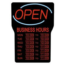 Led Open Sign W/ Business Hours 15x24