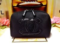 "CHANEL Beauty Black Sequin Logo Handhold Coin Bag Wallet Purse ""P/FREE"" W/Track!"