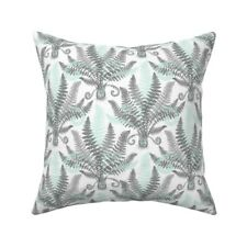 Modern Ferns Mint And Grey Throw Pillow Cover w Optional Insert by Roostery