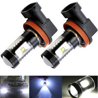 2X H11 H9 H8 COB 100W LED Projector Fog Driving Light Bulbs 6000K White 4000LM