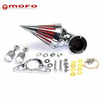 Chrome Spike Cone Air Cleaner Intake Filter For Harley Softail Dyna Touring Alu