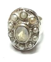 Rainbow  Moonstone Pearl Natural Gemstone 925 Sterling Silver Ring Size 7