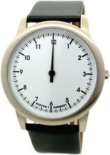HEKTOR eins Einzeiger Uhr unisex analog Quarz Edelstahl weiß Lederband schwarz