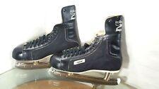 Vintage Bauer Black Panther Leather Hockey Black Ice Skates Size 11