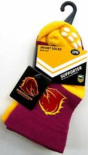 130001 BRISBANE BRONCOS NRL BABY INFANT SOCKS 2 PACK ANTI-SLIP GRIP SIZE 00-1