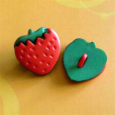 15 Strawberry fruit Food Novelty Craft Sew On Buttons Dress it up 17mm K346
