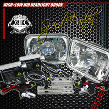 7X6 H6054 CLEAR SQUARE DIAMOND PROJECTOR LIGHTING HEADLIGHTS W/H4 8000K HID