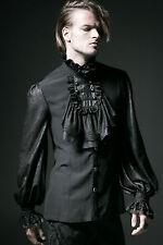 Gothic Punk Rave Hemd schwarz black shirt Herren Jabot barock viktorianisch WGT