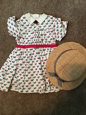 American Girl Addy PC Summer Dress W/ Berry Broach, Straw Hat Excellent  RETIRED