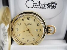 Pocket Watch Date 1 Reduced Colibri Gold Face Goldtone Japan Movt.