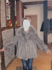 SAGA MINK  Nerz  Jacke  Blau-Grau mit Fuchskragen