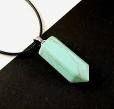 1 Bohemian Green Turquoise Gemstone Pointed Pendant Necklace # B264