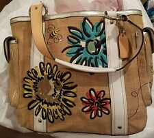 COACH Straw/Leather Tote Bag Flower & Bee Motif #9447 VGUC