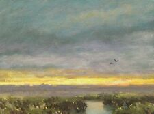 Twilight Tonalist Field Forest Farm Impressionism Art Oil Painting Landscape