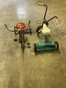 2 Vintage AMF and Western Auto Western Flyer Tricycles