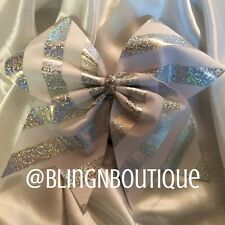 CHEER BOW - White & Silver Cheer Bow - White Lightning