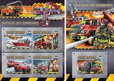 Fire Engines Transport Firefighters Cars Ships Plane Guinea-Bissau MNH stamp set