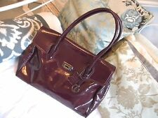 L. CREDI Ex large Purple/plum real Patent LEATHER HANDBAG SHOULDER BAG- NEW