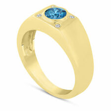 Enhanced Fancy Blue Diamond Solitaire Mens Ring 14K Yellow Gold 0.55 Carat