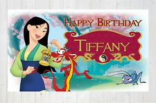 Mulan Birthday Banner Party Kids Backdrop Wall Art Decor Custom Gift Print AS135