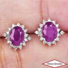 Estate Diamond 3.53ct Ruby 18K Gold Cluster Earrings NR