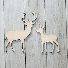 SET of Deer Buck Doe Unfinished Wood Cutout Shapes Ready to Paint Crafts Cabin