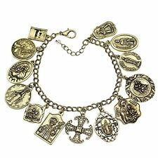 Vintage Gold Plated Catholic Religious Church Medals Charm Saints PRAY FOR US