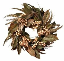 Nearly Natural 4681 Feather and Berry Wreath- 24-Inch- Multi Color