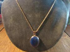 Fabulous Vintage 9ct Gold & Lapis Lazuli Pendant & 9ct Gold Chain & Earrings