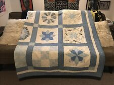 Handmade Quilt Blue And White  78 X 98
