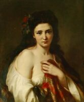 """oil painting handpainted on canvas """"a maiden with roses in her hair """"@N8364"""