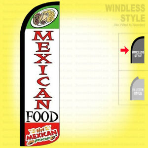HOT MEXICAN FOOD - Windless Swooper Flag 11.5 ft Feather Banner Sign wz18