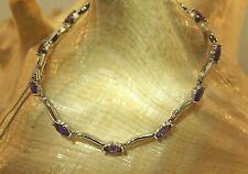 "Ackdol Unyang Amethyst Bracelet 7.25"" Vintage South Korea Marquise Cut 2.94Cts"