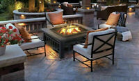 Outdoor Fire Pit BBQ Firepit Garden Square Table Stove Patio Heater with Grill