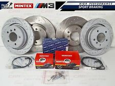 BMW E36 M3 EVO FRONT REAR DIMPLED AND GROOVED BRAKE DISC DISCS MINTEX PADS SHOES