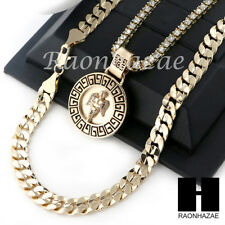 "Cut 30"" Cuban Link Chain Necklace S044 Iced Out Angel Round Tennis Chain Diamond"