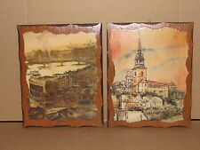 Vintage Art Deco 8x10 Pictures on Wood