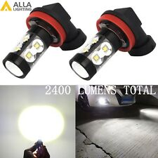 Alla Lighting 2x 6000K Super White 50W-LED H11 H8 Fog Driving Light Bulbs Lamps