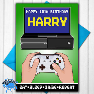 Xbox Gamer Personalised Birthday Card Any Name or Relative + Age