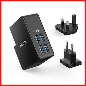 USB Charger Anker 27W 4-Port USB Wall Charger PowerPort 4 Lite with UK and EU XS