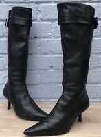 Buffalo London Uk Size 4 Black Knee Length Pointed Toe Kitten Heel Leather Boots