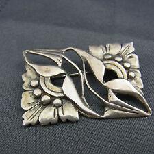 schöne alte Brosche Silber Jugendstiel Floral