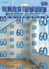 **60TH BIRTHDAY CELEBRATIONS**  Pack of 6 - 60th Hanging String Decorations!