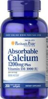 ABSORBABLE CALCIUM 1200mg PLUS VITAMIN D3 1000 IU BONE ACTIVE PILLS 200 SOFTGELS