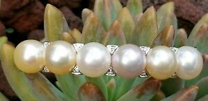 14k Gold Diamond Pearl Bangle Bracelet-Gold Pearl Jewelry-Women's Bracelet SZ 7